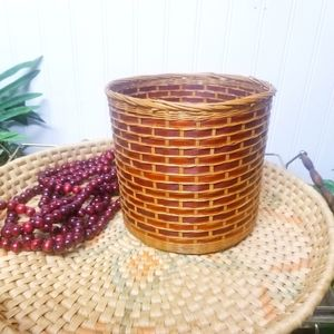 Vintage Wicker Rattan Woven Basket Planter Decor
